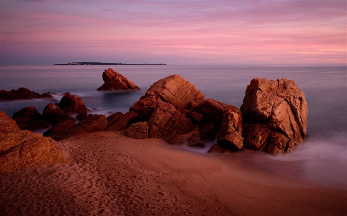 Rocks sand sea sky-Landscape Theme Wallpaper Views:1100