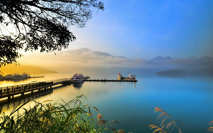 Summer lake sunset evening-Scenery High Quality Wallpaper Views:1860