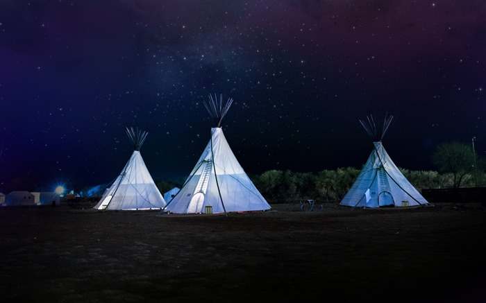 Tents night stars sky-Landscape Theme Wallpaper Views:858