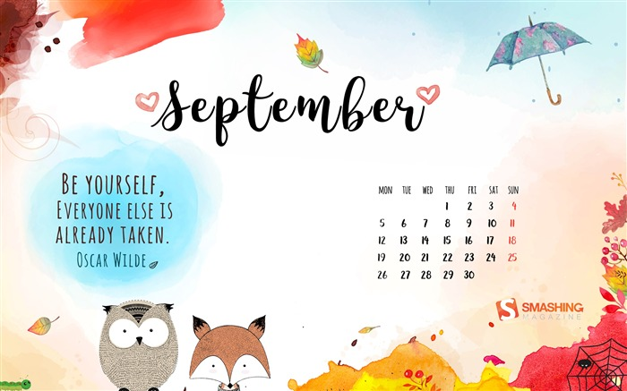 September 2016 Calendar Desktop Themes Wallpaper Views:5938