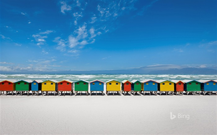Beach huts in Muizenberg South Africa-2016 Bing Desktop Wallpaper Views:1862
