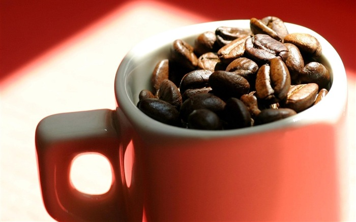 Beans cup coffee red shadow-Macro photography wallpapers Views:1332