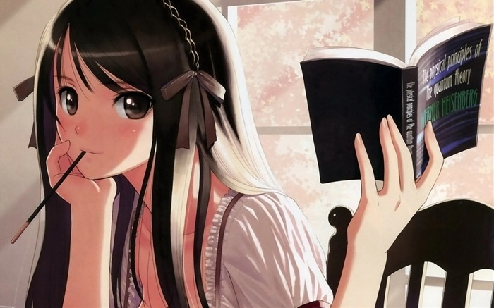 Girl reading book-Anime Character HD Wallpaper Views:2393