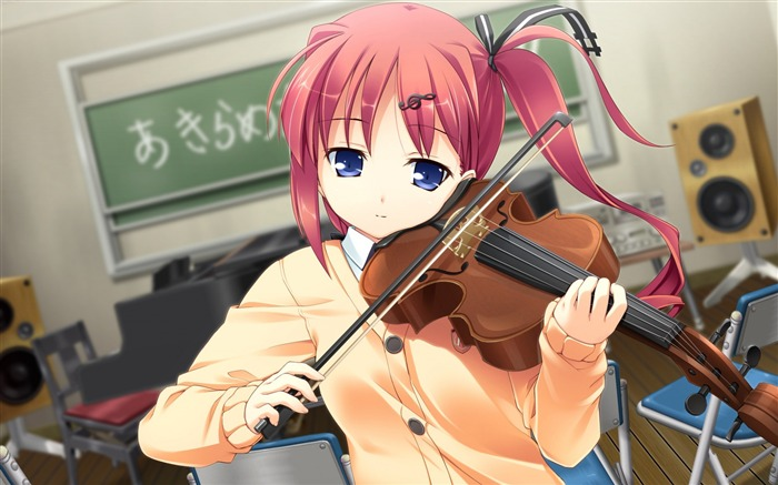 Girl violin treble lesson-Anime Character HD Wallpaper Views:2122