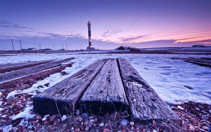Lighthouse Natural Stone : Wood boards beacon stones snow nature scenery wallpaper