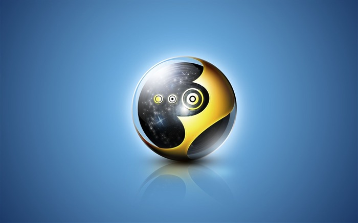 Ball black yellow blue-3D Artwork Vector Wallpaper Views:2787