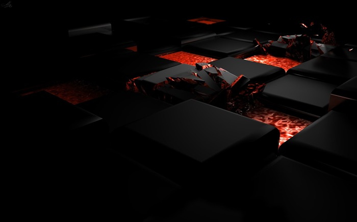 Cube fire dark light alloy-3D Artwork Vector Wallpaper Views:2212