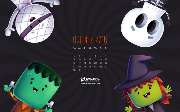 October 2016 Calendar Desktop Themes Wallpaper Views:4602