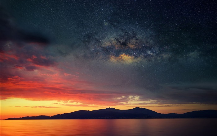 Island sunset nebula space-Nature High Quality Wallpaper Views:3711 Date:9/21/2016 8:00:34 AM