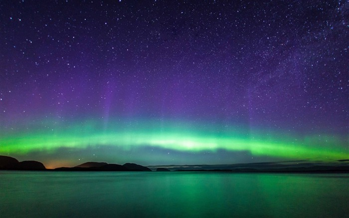 Northern lights lake mountains-Nature High Quality Wallpaper Views:2769 Date:9/21/2016 8:12:51 AM