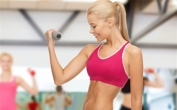 Sexy girl exercise dumbbells-Fitness photo wallpaper Views:1719