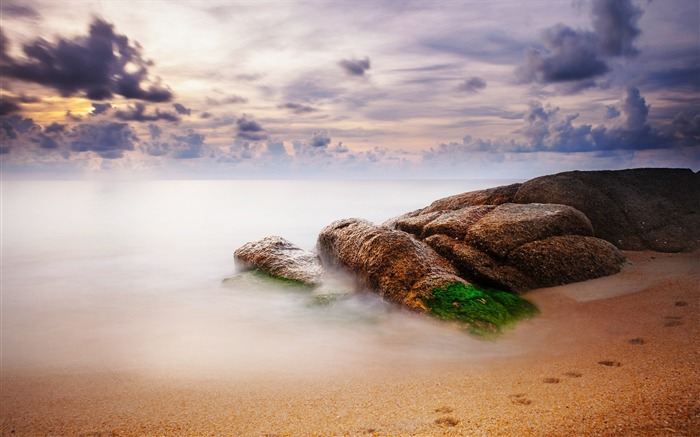 Stones sand moss traces-Scenery HD Wallpaper Views:1488