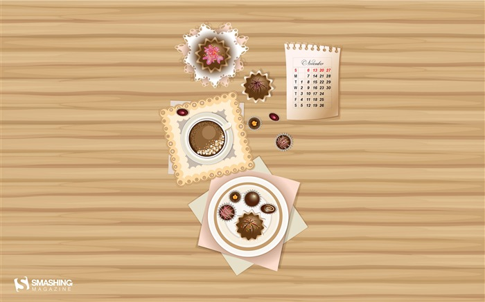 Coffee And Sweets-November 2016 Calendar Wallpaper Views:2387
