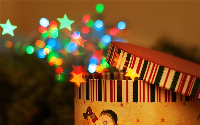 Snow new year boxes stars-Bokeh Photography Wallpaper Views:1510