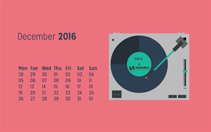 Play The Last Song Of The Year-December 2016 Calendar Wallpaper Views:1123