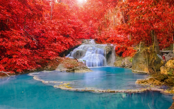 Red forest waterfall turquoise lake-Nature High Quality HD Wallpaper Views:2128