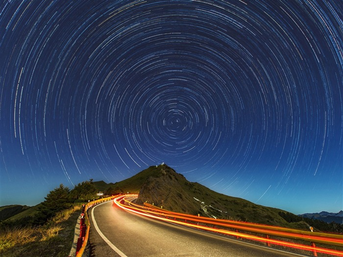 Star trails mountain road-Nature High Quality HD Wallpaper Views:1163