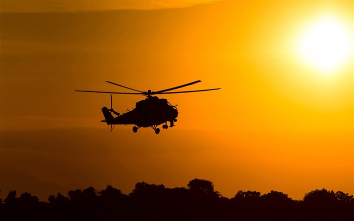 mil mi 2 attack helicopter silhouette-2016 High Quality HD Wallpaper Views:1543