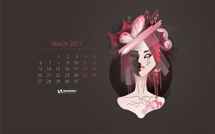 Chinese Girl-March 2017 Calendar Wallpaper Views:2228