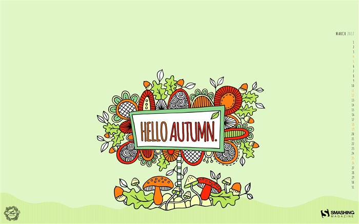Hello Autumn-March 2017 Calendar Wallpaper Views:1646