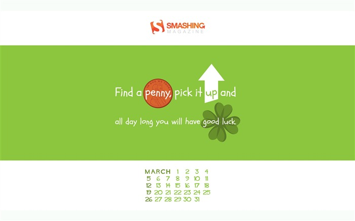 Lucky Day-March 2017 Calendar Wallpaper Views:2203