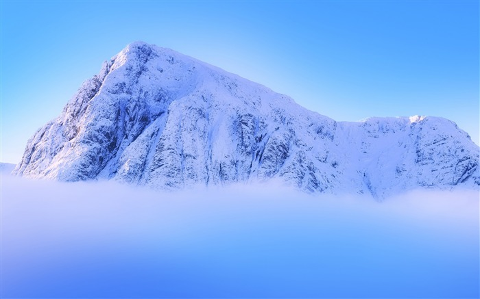 Snowy mountain peak above clouds-Nature HD Wallpaper Views:1152