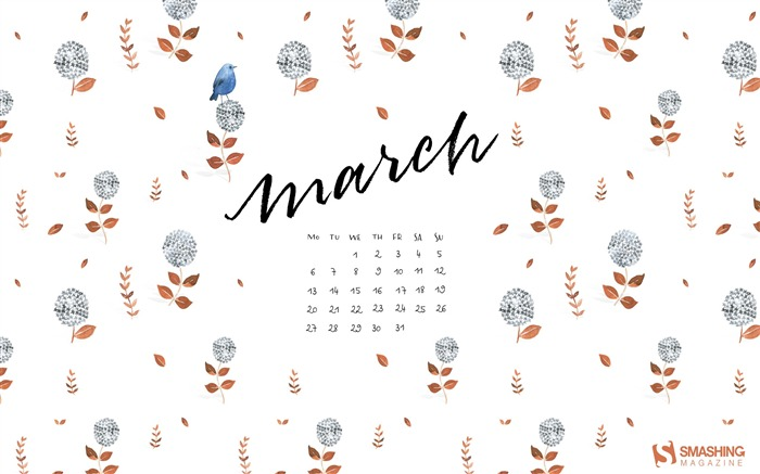 Spring Bird-March 2017 Calendar Wallpaper Views:1292