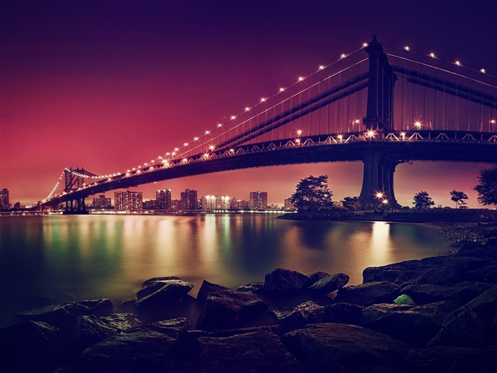 Manhattan suspension bridge-High Quality Wallpaper Views:1574