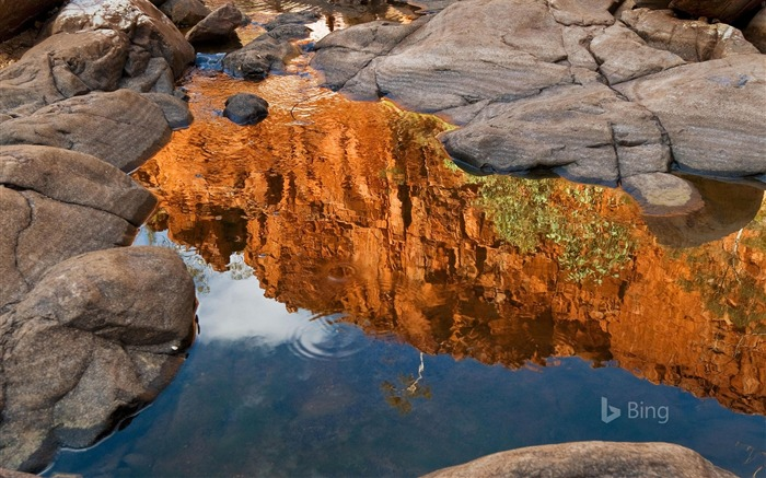 Northern Territory Reflection of Ormiston Gorge-2017 Bing Desktop Wallpaper Views:768