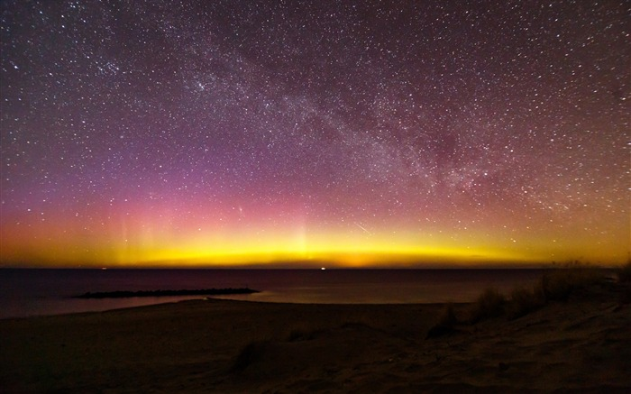 Northern lights milky aurora denmark-High Quality Wallpaper Views:1764