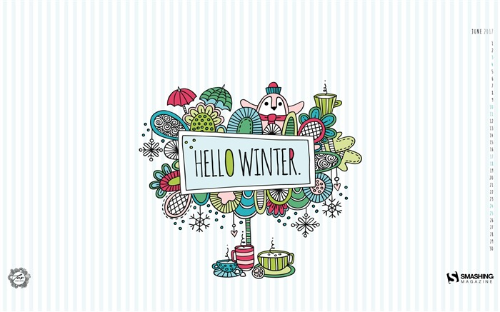 Hello Winter-June 2017 Calendar Wallpaper Views:1305