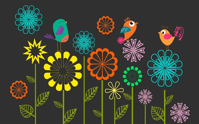 Colorful vector flowers birds-High Quality Wallpaper Views:1101