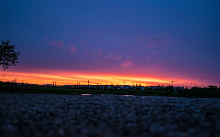Night sky sunset road-High Quality Wallpaper Views:1091