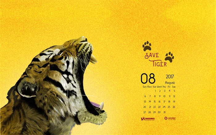 Let Us Save The Tigers-August 2017 Calendar Wallpaper Views:1174