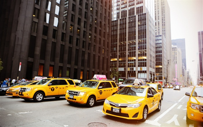 New york street cabs taxis-Life HD Wallpaper Views:711