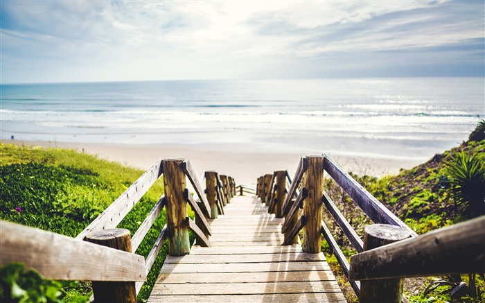 Wooden stairs beach-2017 High Quality Wallpaper Views:361