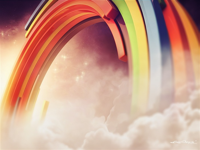 3D Colorful Rainbow Clouds-Vector HD Wallpaper Views:601