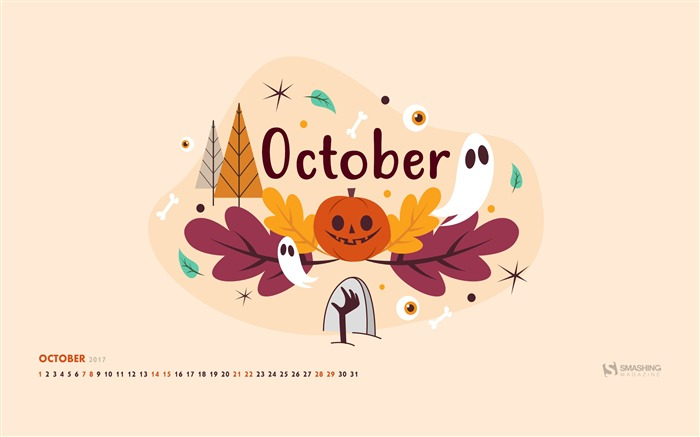 October 2017 Calendar Desktop Themes Wallpaper Views:4458