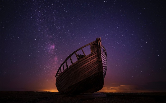Boat starry sky night-2017 High Quality Wallpaper Views:483