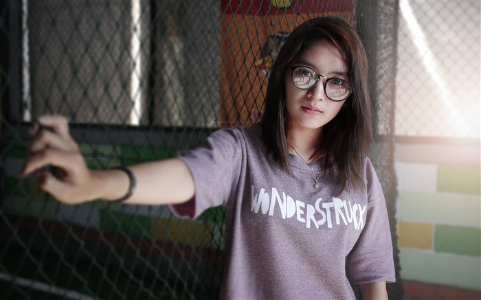 Glasses pure Chinese girl HD photo wallpaper Views:1080