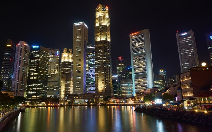 Luxury night river skyline skyscrapers HD Photo Wallpaper Views:521