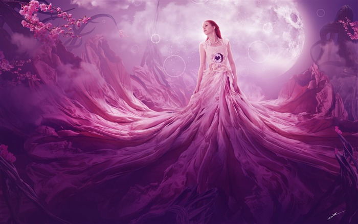 Pink fantasy girl High Quality Wallpaper Views:910