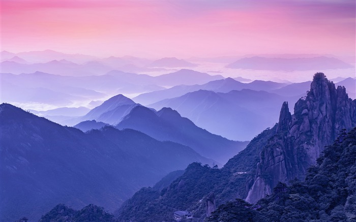 Purple foggy morning mountains 2017 High Quality Wallpaper Views:754