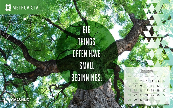 Big Things Often Have Small Beginnings January 2018 Calendars Views:622