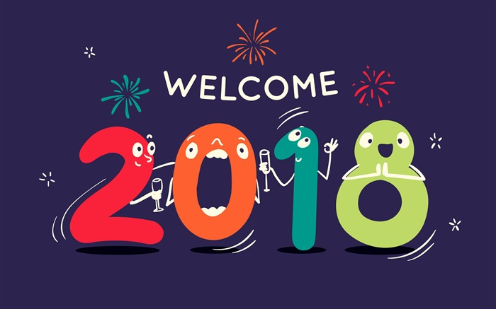 Cartoon Digital Welcome 2018 New Year 4K HD Wallpaper Views:3331