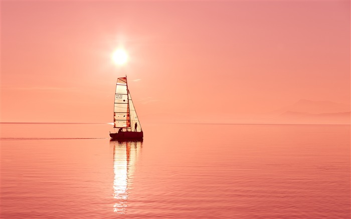 Dreamy sailboat ocean sunset 4K HD Photo Views:427