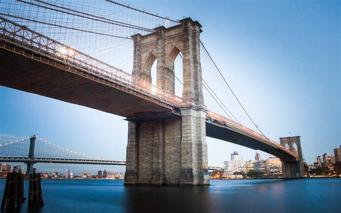Brooklyn bridge cityscape landmark blue sky Views:176