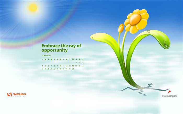 Embrace The Ray Of Opportunity February 2018 Calendars Views:830