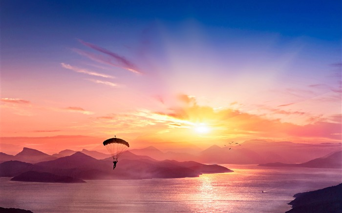 Parasailing Sport Sunset Mountains River View Views:176