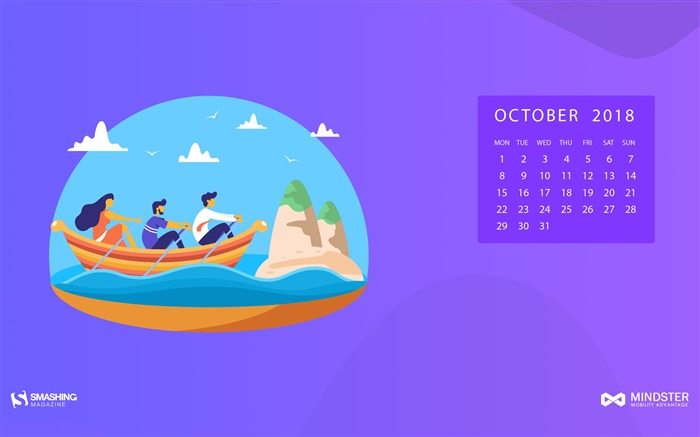October 2018 Calendars Theme HD Desktop Views:4687